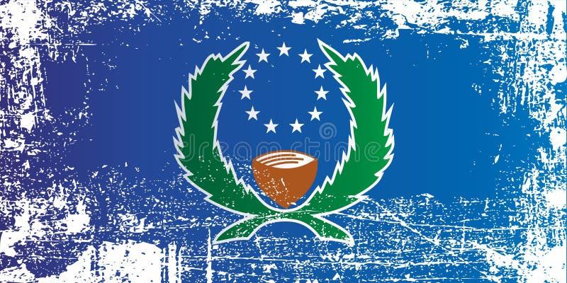Drapeau d'état de Pohnpei, Etats fédérés de Micronésie Taches sales froissées illustration libre de droits