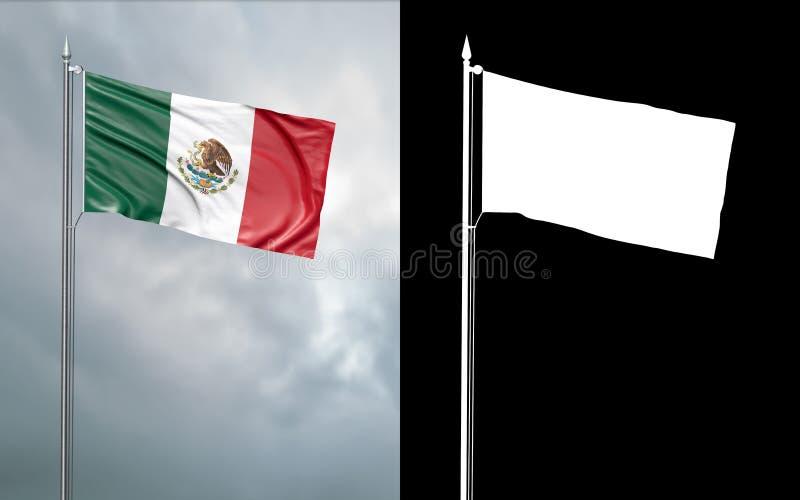 Drapeau d'état des États-Unis du Mexique avec le canal alpha illustration stock