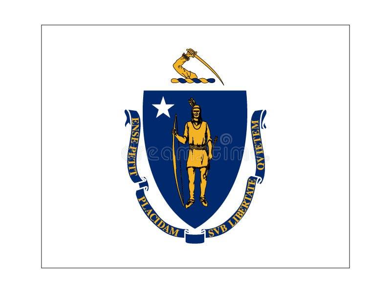 Drapeau d'état des Etats-Unis du Massachusetts illustration de vecteur