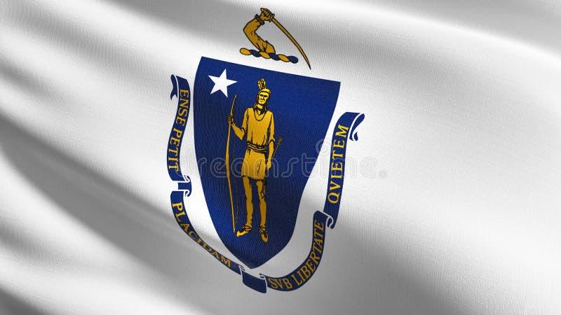 Drapeau d'état du Massachusetts aux Etats-Unis d'Amérique, Etats-Unis, soufflant dans le vent d'isolement Conception abstraite pa illustration stock