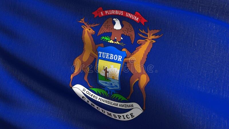 Drapeau d'État du Michigan aux Etats-Unis d'Amérique, Etats-Unis, soufflant dans le vent d'isolement Conception abstraite patriot illustration stock