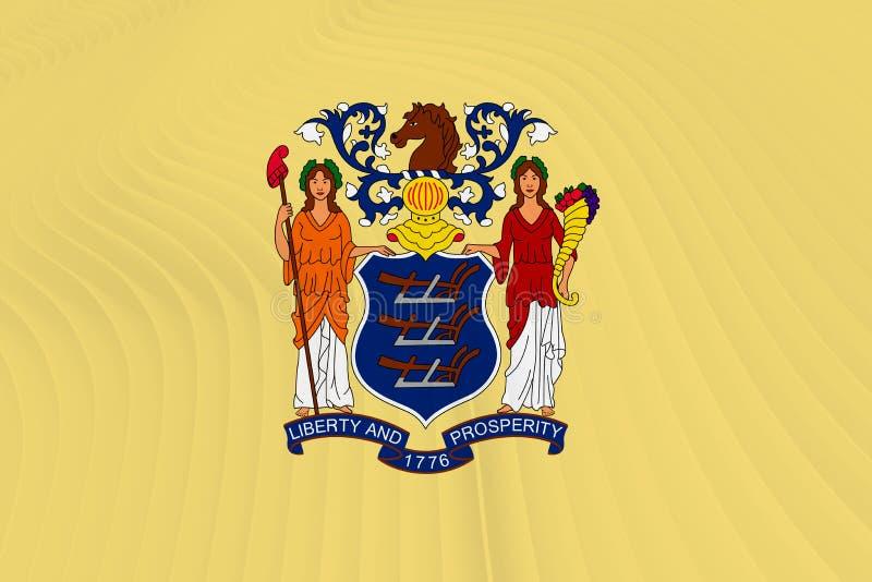 Drapeau d'état d'USA de New Jersey illustration de vecteur