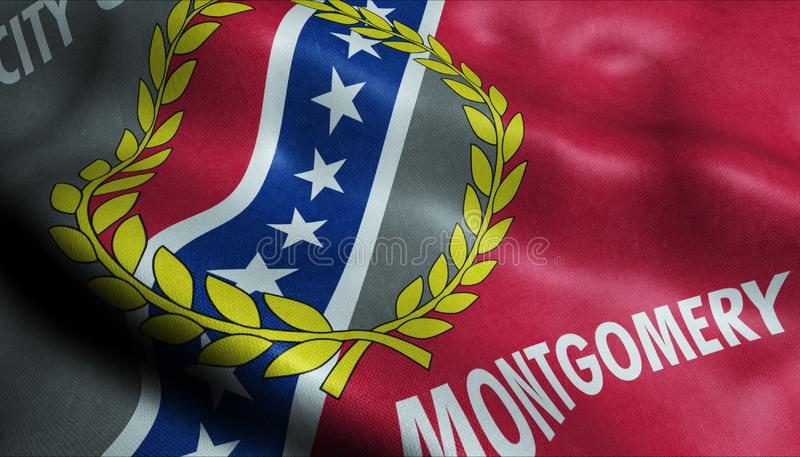 Drapeau 3D agitant de Montgomery City Closeup View illustration libre de droits