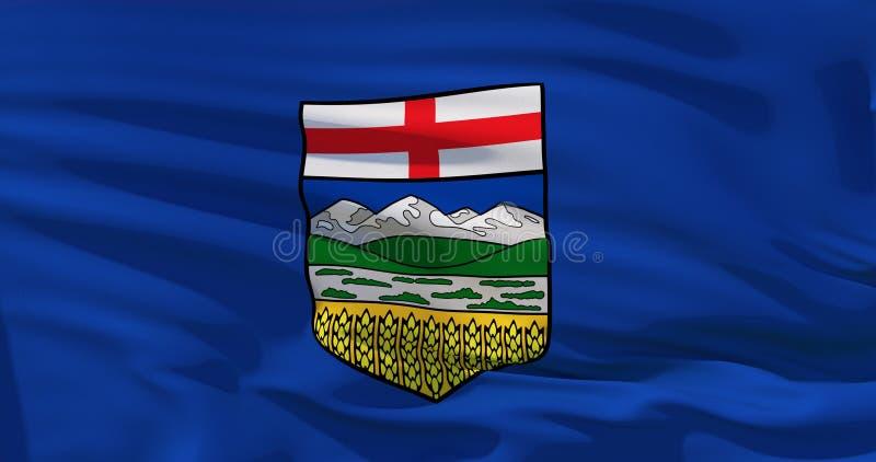 Drapeau d'Alberta Drapeau de ondulation de province d'Alberta, Canada illustration 3D illustration libre de droits