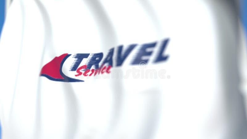 Drapeau d'alerte avec logo Travel Service Airline, gros plan Rendu 3D éditorial illustration stock