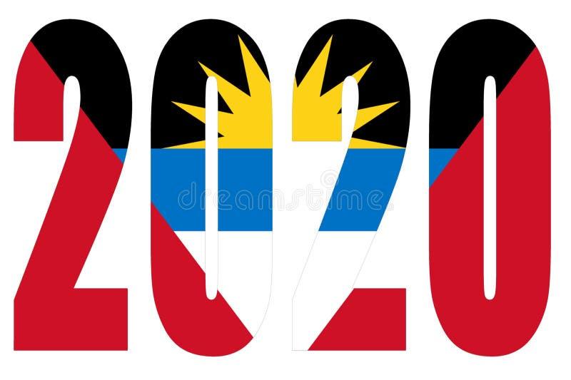 Drapeau d'Antigua-et-Barbuda sur 2020 lettres isolées illustration de vecteur