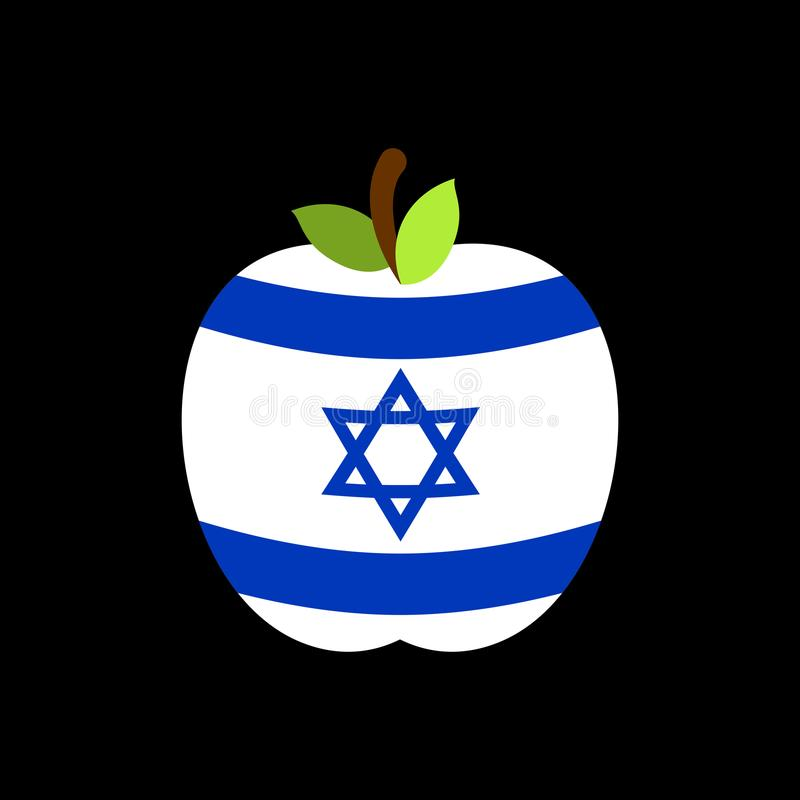 Drapeau d'Apple Israël Fruit national israélien Illustration de vecteur illustration de vecteur