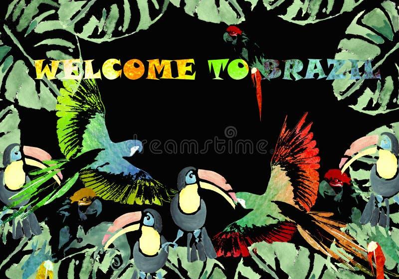 Drapeau d'aquarelle Fond tropical illustration libre de droits