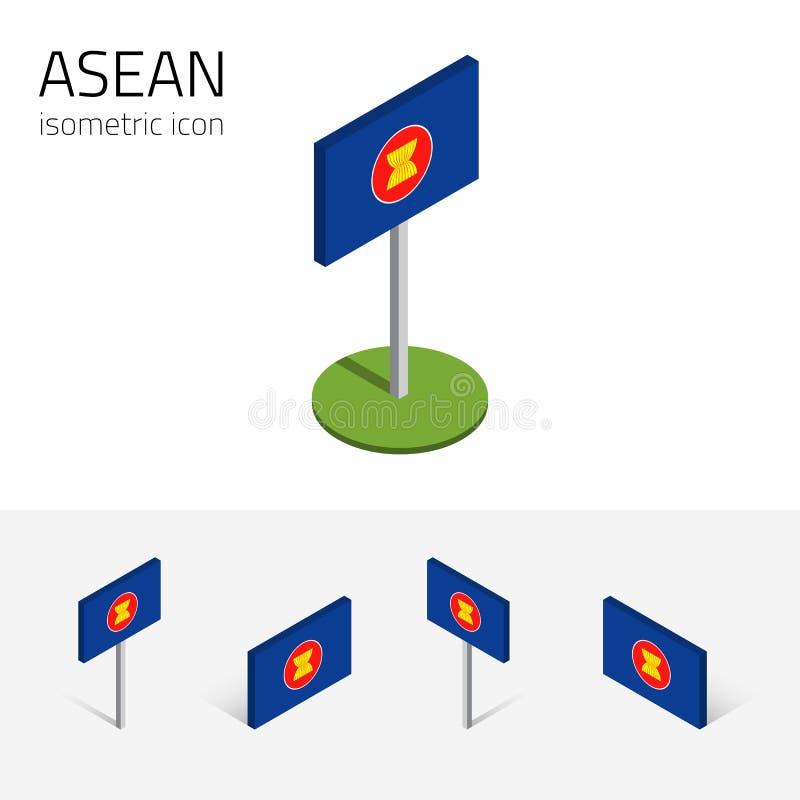 Drapeau d'ASEAN, ensemble de vecteur des icônes plates isométriques, style 3D illustration libre de droits
