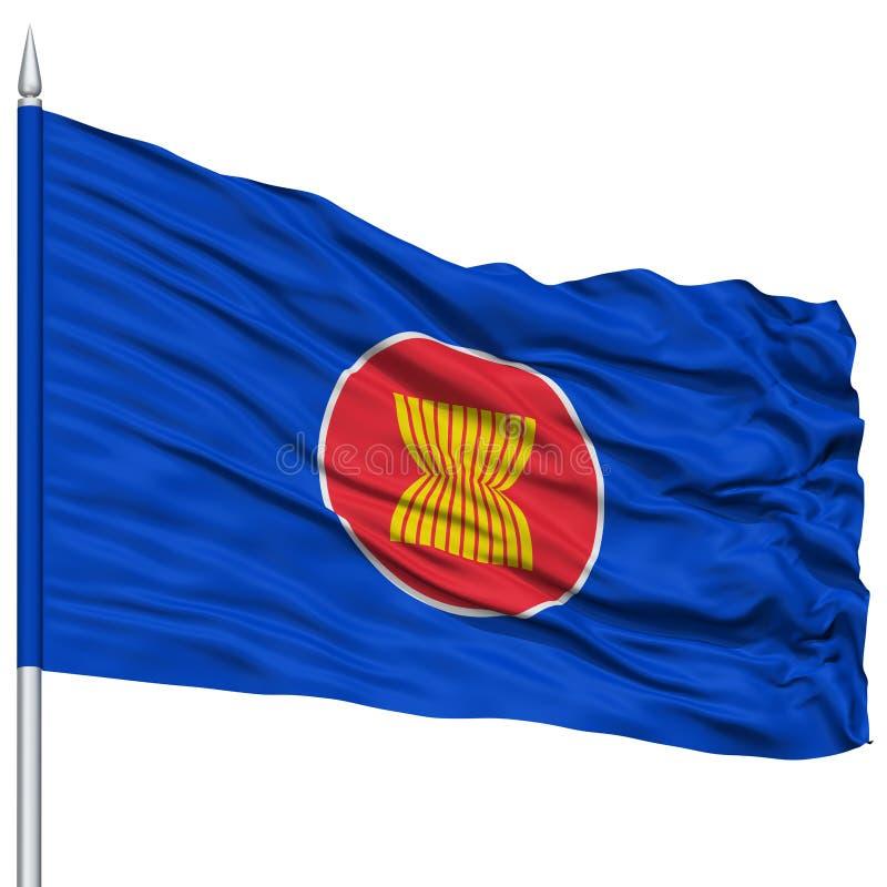 Drapeau d'ASEAN sur le mât de drapeau illustration de vecteur