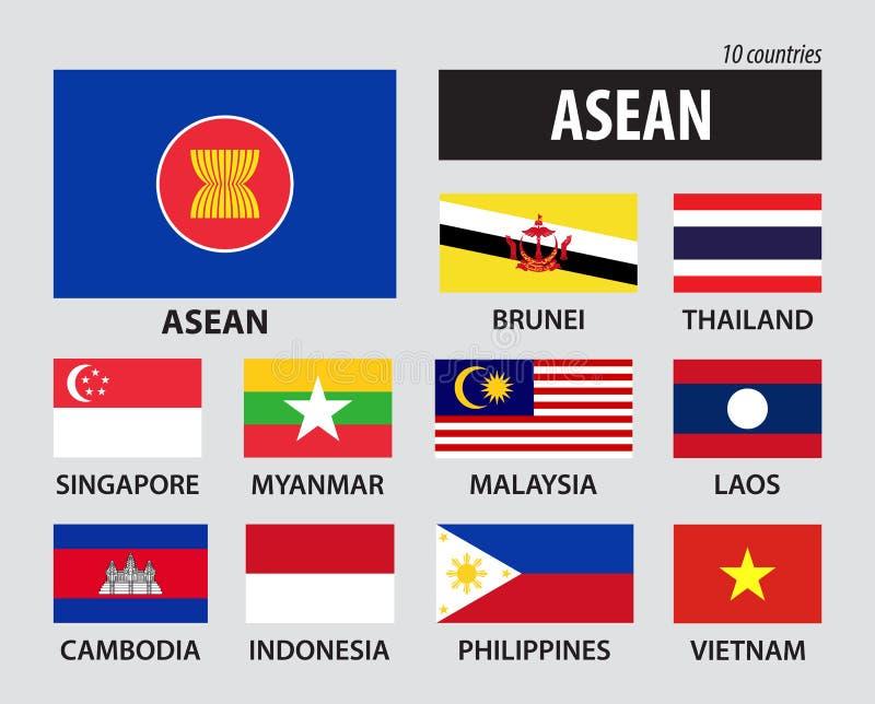 Drapeau d'association d'ASEAN des nations et de l'adhésion asiatiques du sud-est illustration de vecteur