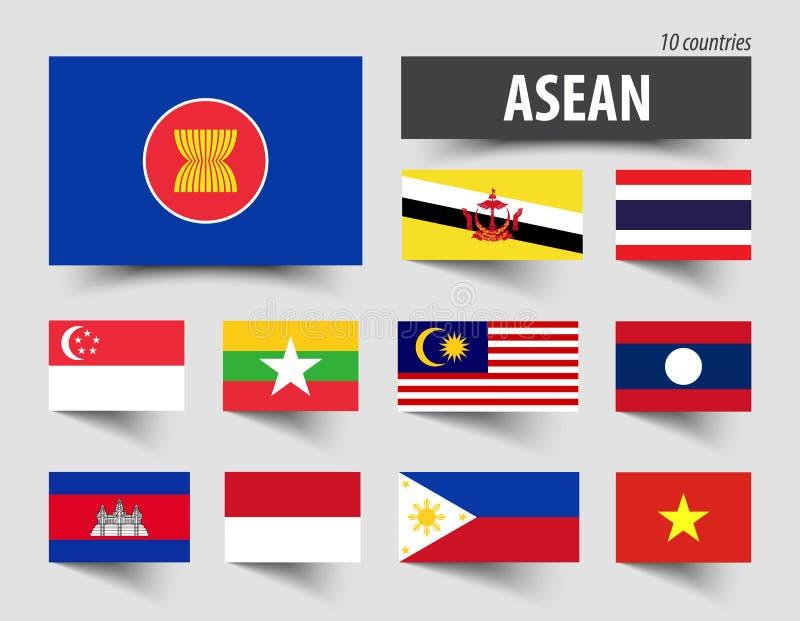 Drapeau d'association d'ASEAN des nations et de l'adhésion asiatiques du sud-est illustration libre de droits