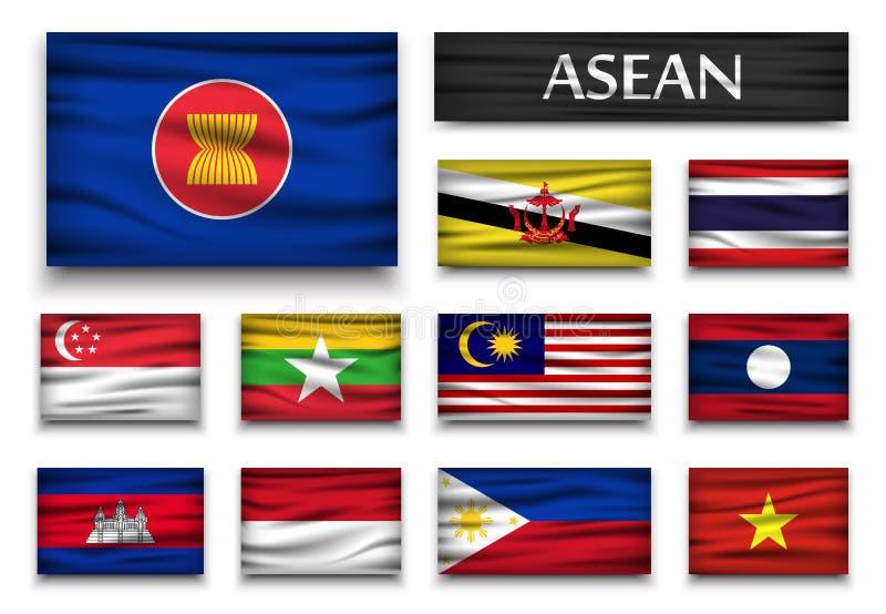 Drapeau d'association d'ASEAN des nations et de l'adhésion asiatiques du sud-est Conception onduleuse Fond d'isolement illustration de vecteur