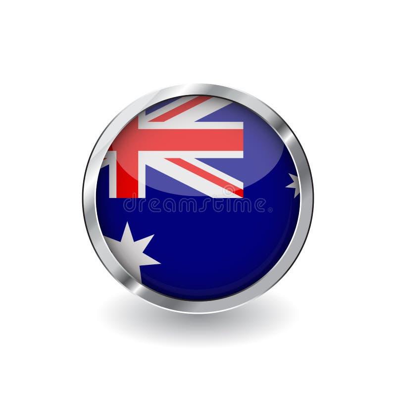 Drapeau d'Australie, bouton avec le cadre en métal et ombre icône de vecteur de drapeau d'Australie, insigne avec l'effet brillan illustration stock
