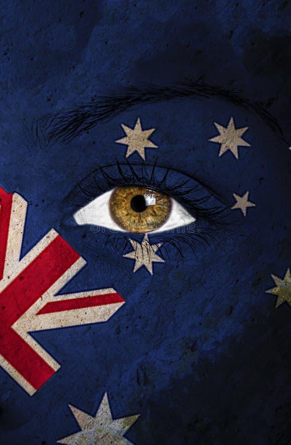 Drapeau d'Australie peint au-dessus du visage photos stock