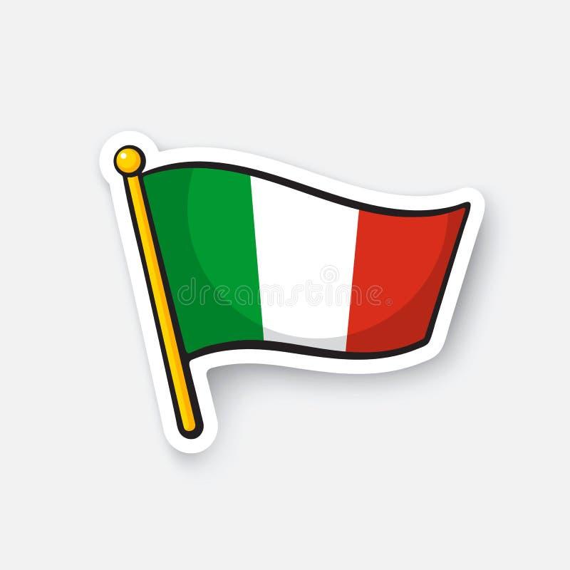 Drapeau d'autocollant de l'Italie sur la hampe de drapeaux illustration libre de droits