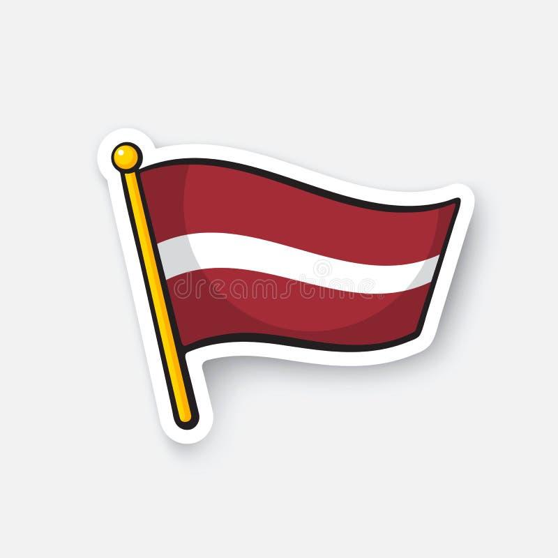 Drapeau d'autocollant de la Lettonie sur la hampe de drapeaux illustration stock