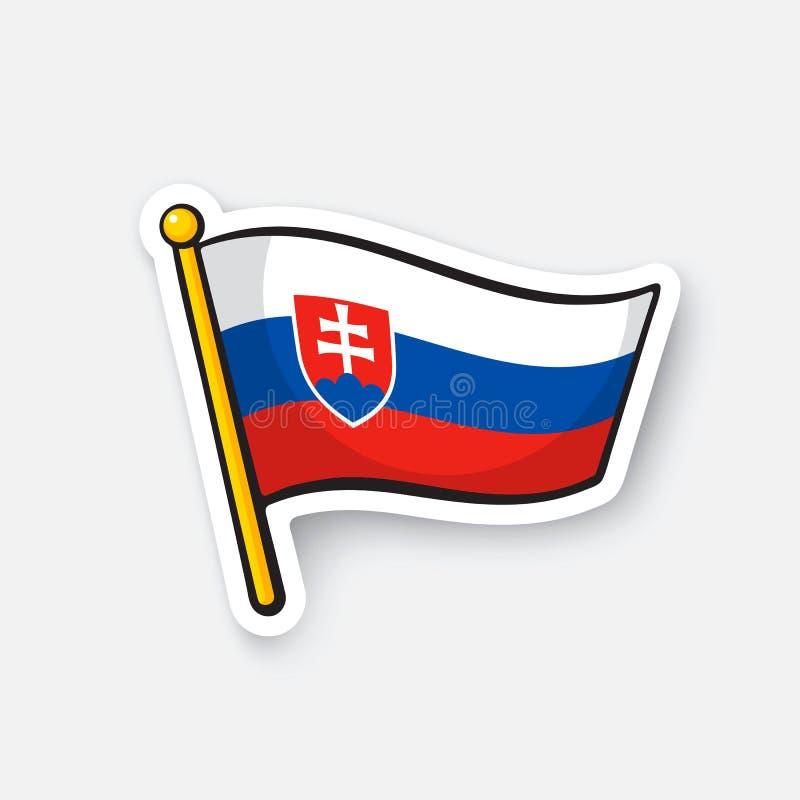 Drapeau d'autocollant de la Slovaquie sur la hampe de drapeaux illustration stock