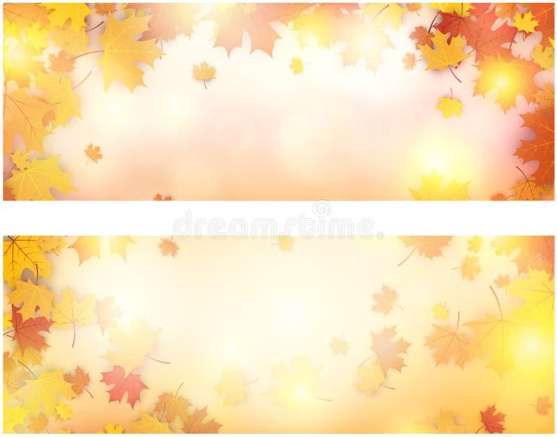 Drapeau d'automne avec des lames d'érable illustration stock