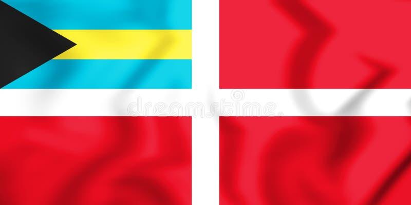 drapeau 3D civil des Bahamas illustration de vecteur