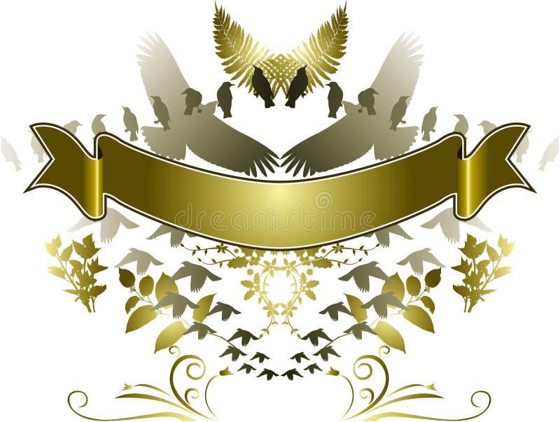 Drapeau d'or d'oiseaux illustration libre de droits
