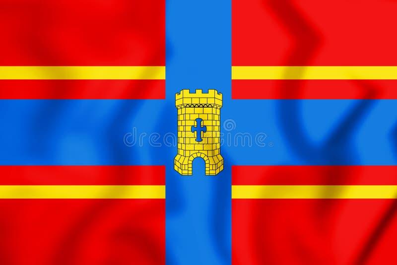 drapeau 3D de Coevorden Drenthe, Pays-Bas illustration de vecteur