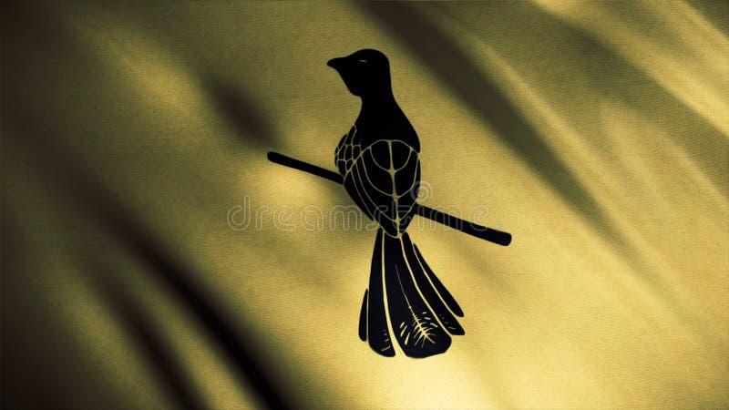 Drapeau d'or de flottement avec un moqueur se reposant sur une petite branche, boucle sans couture Emblème de maison de Baelish,  photographie stock