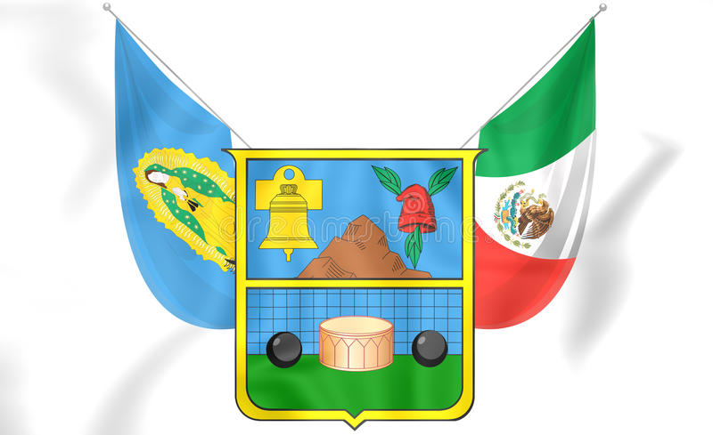 drapeau 3D de Hidalgo, Mexique illustration libre de droits