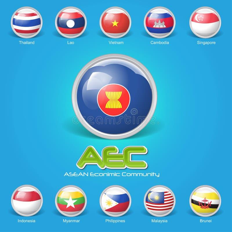 drapeau 3D de la communauté économique d'ASEAN illustration stock