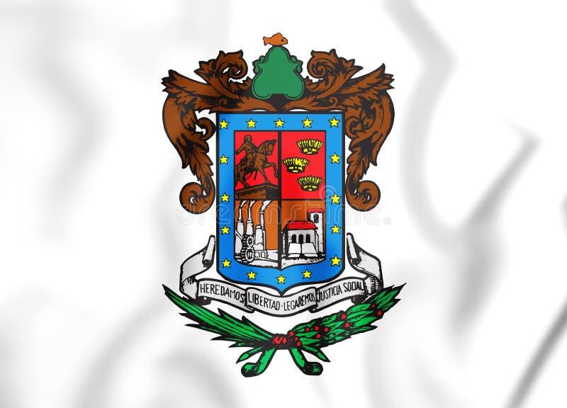 drapeau 3D de Michoacan, Mexique illustration de vecteur