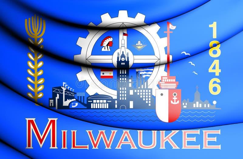 drapeau 3D de Milwaukee le Wisconsin, Etats-Unis illustration de vecteur