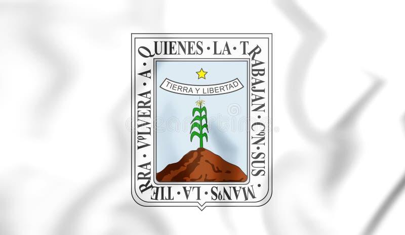 drapeau 3D de Morelos, Mexique illustration stock