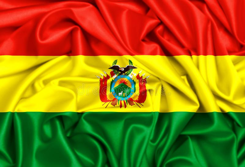 drapeau 3d de ondulation de la Bolivie illustration stock
