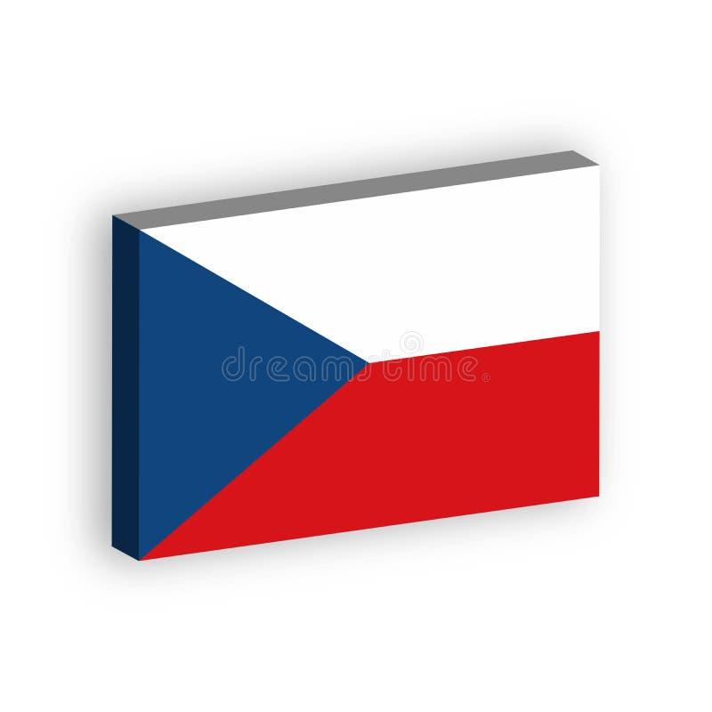 drapeau 3D de République Tchèque Dirigez l'illustration avec l'ombre laissée tomber d'isolement sur le fond blanc illustration libre de droits