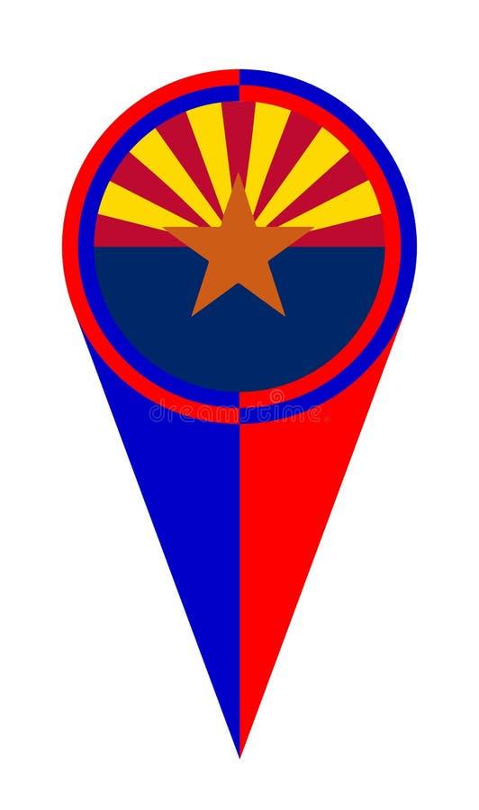 Drapeau d'emplacement d'indicateur de carte de l'Arizona illustration de vecteur