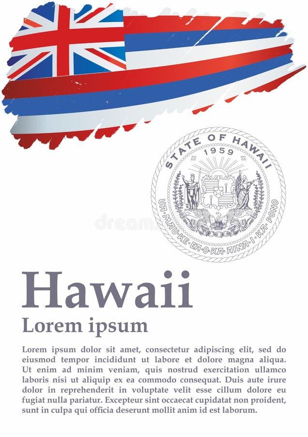 Drapeau d'Hawaï, état d'Hawaii, Etats-Unis d'Amérique Calibre pour la conception de récompense, un document officiel avec le drap illustration stock