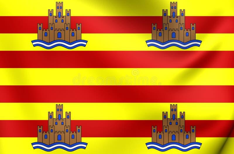 Drapeau d'Ibiza, Espagne illustration stock