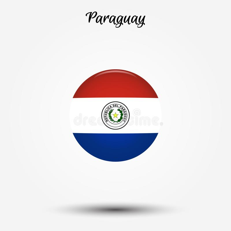 Drapeau d'icône du Paraguay illustration stock
