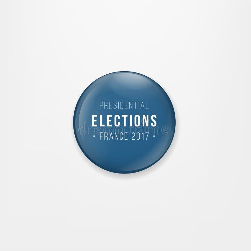 Drapeau d'icône, d'insigne ou de bouton rond de Frances Symbole national français Vote d'élection présidentielle de Frances Vecte illustration libre de droits