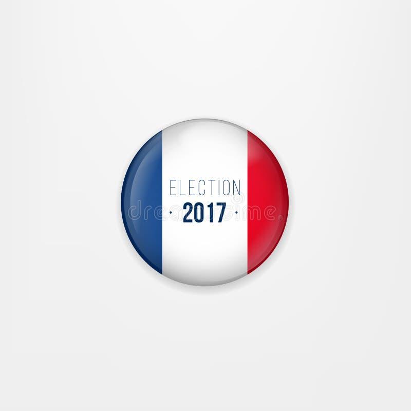 Drapeau d'icône, d'insigne ou de bouton rond de Frances Symbole national français Vote d'élection présidentielle de Frances Vecte illustration stock
