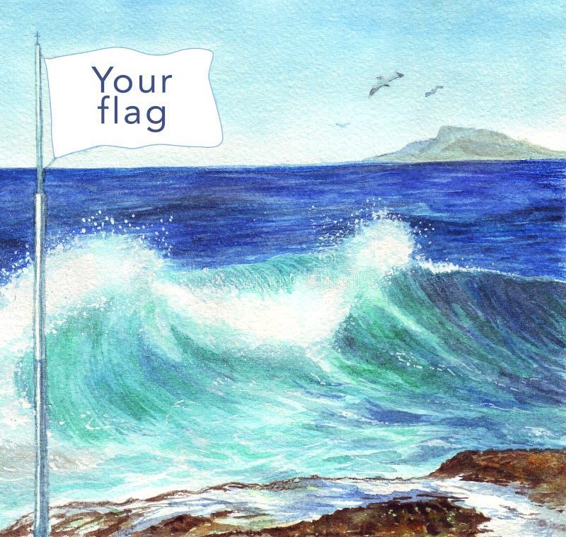 Drapeau d'illustration d'aquarelle par la mer Fond de grunge de l'indépendance Day Carte postale, affiche, Web illustration de vecteur