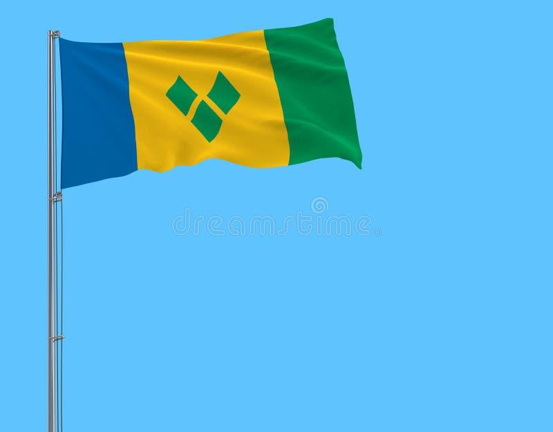 Drapeau d'isolat de Saint-Vincent-et-les-Grenadines sur un mât de drapeau flottant dans le vent sur un bleu illustration stock