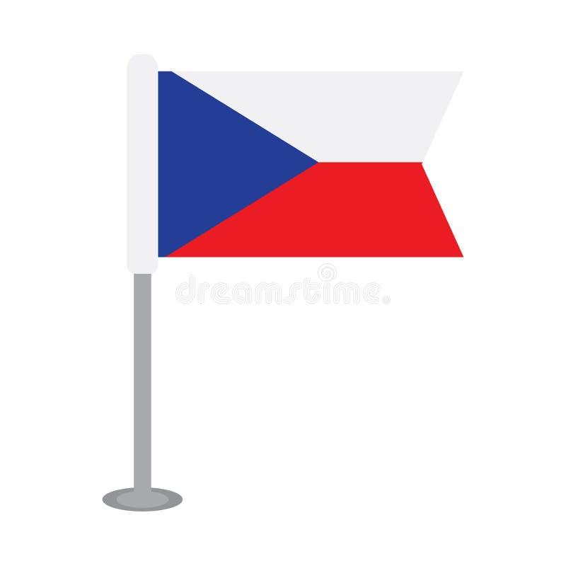 Drapeau d'isolement de République Tchèque illustration stock