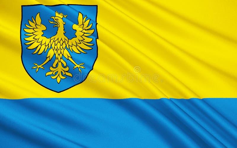 Drapeau d'Opole Voivodeship en Pologne images libres de droits