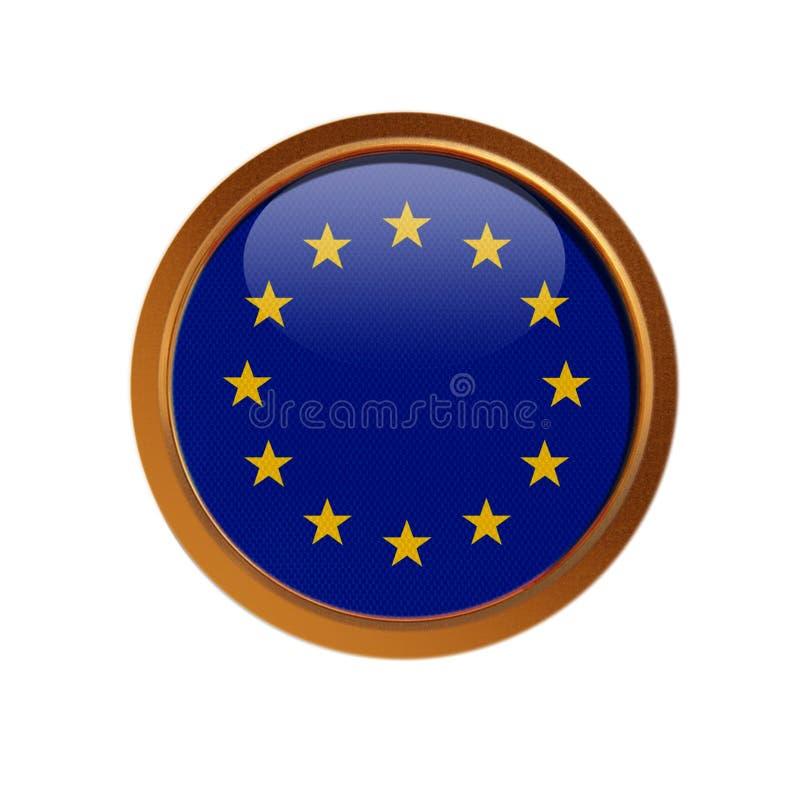 Drapeau d'Union européenne dans le cadre d'or illustration de vecteur