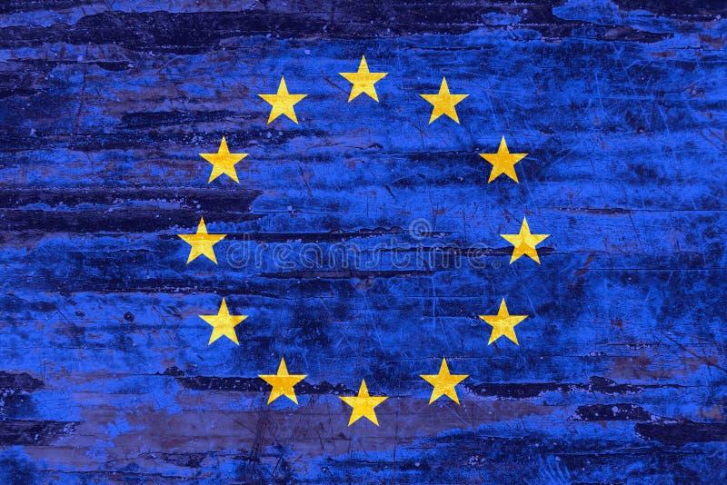 Drapeau d'Union européenne sur le fond de conseils en bois illustration stock
