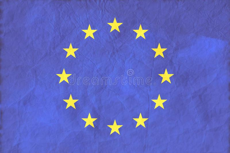 Drapeau d'Union européenne sur le fond de papier de texture illustration de vecteur
