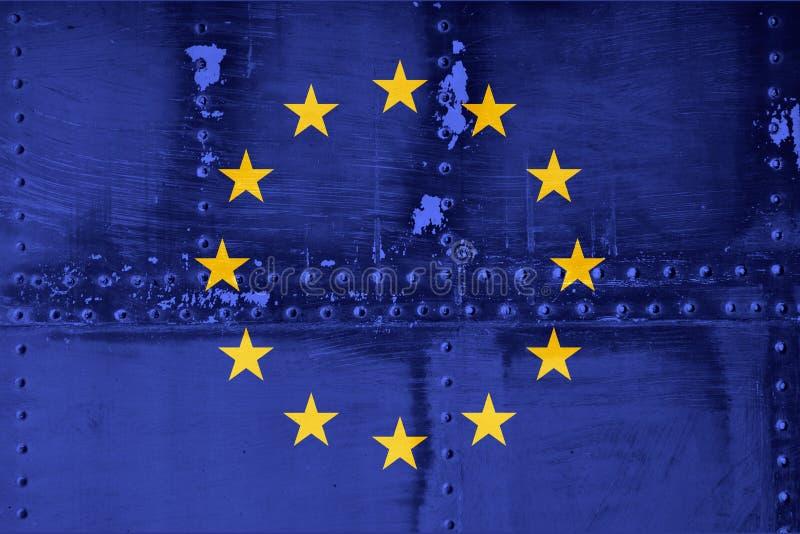 Drapeau d'Union européenne sur le fond de texture en métal Symbole, illustration libre de droits