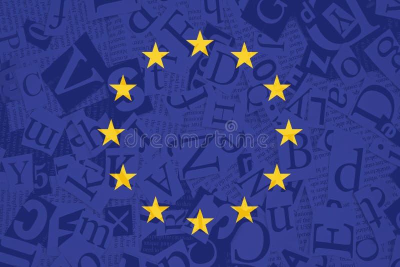 Drapeau d'Union européenne sur le fond de texture de soupe à alphabet illustration de vecteur