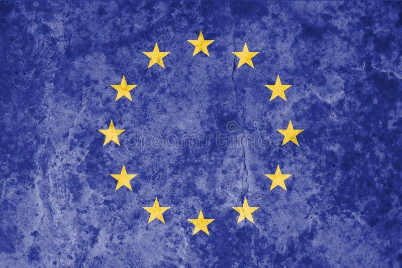 Drapeau d'Union européenne sur le fond en pierre grunge de texture illustration de vecteur